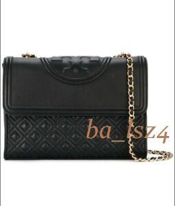 TORY BURCH Large Fleming Convertible Shoulder Bag NWT Black Authentic 31381 sale