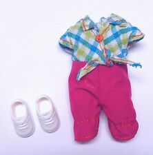 Kelly Chelsea Doll Clothes Plaid Top Pink Pants One Piece + Shoes Mattel New