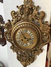 MAGNIFICENT ANTIQUE FRENCH GILDED BRONZE CARTEL WALL CLOCK