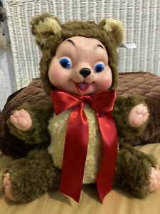 Vintage MY TOY Co. Plush Stuffed Teddy Bear w Rubber Face and Paws
