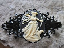 GODDESS DIANA WITH BOW AND DOG CAMEO BLACK FILIGREE BARRETTE - THE HUNTRESS