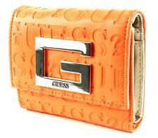 GUESS Brightside SLG Small Trifold Geldbörse Orange Orange Neu