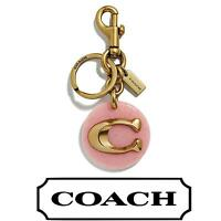 COACH Signature Pink Disk Bag Charm ⭐NEW⭐ Key Chain F39820 Petal  ⭐ Gold C