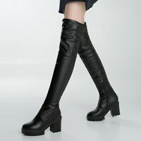 Women Chunky Heels Platform Side Zip Over the Knee High Boots Black Casual Shoes