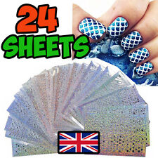 24 SHEETS NAIL ART VINYL MANICURE STENCILS GUIDE ROSES ABSTRACT HEARTS RETRO