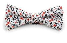 New Mens Floral Wedding Cotton Banded Bow Tie, 100% Cotton, Adjustable