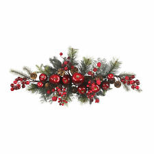 "Artificial 30"" Red Apples Berries & Pine Holiday Centerpiece Swag Wreath"