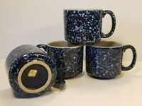 Otagiri Japan HandCrafted Stoneware Blue Speckled Flat Top Cup Mug Rare Set of 4