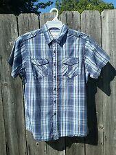 Men's Refuel New York Blue Plaid Short Sleeve Button Up Shirt