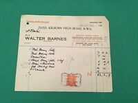 Walter Barnes London 1946 House Furnishers stamped receipt R35536