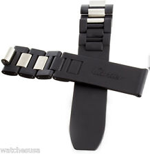 Genuine Cartier Chronoscaph 20mm Black Rubber Watch Strap Band