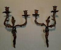 """Pair of Bronze Rococo Style Two-Arm Candle Wall Sconces by Global Views 18"""" high"""