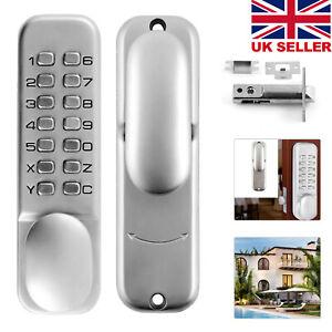 Push Button Mechanical Digital Combination Code Door Lock Keyless Access Satin