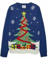 Primark Men's Women's Christmas Tree Light Up Knitted Jumper Size S M L XL XXL