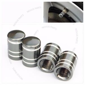 For Porsche 911 Boxster Cayenne Gun Metal Tire Valve Cap 4pcs Smooth round Wheel