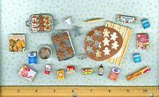 Dollhouse Miniature Sue's Gingerbread Man Cookie Baking Set In Progress # 1