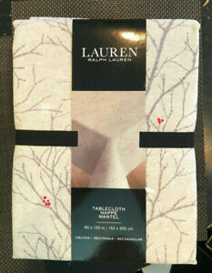 """Ralph Lauren WINTER BRANCHES Gray, Taupe & Red 60 x 120"""" Tablecloth--NWT"""