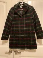 Joan Rivers Button Front Plaid Swing Coat - Green/Black Plaid - XX-Small