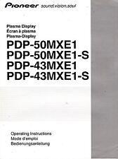 PIONEER PDP-50MXE1 PDP-43MXE1 PLASMA DISPLAY OPERATING INSTRUCTIONS MANUAL 2004