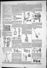 Old Print 1885 American Patents Steam Governor Killip Water Gauge Ochwadt 19th