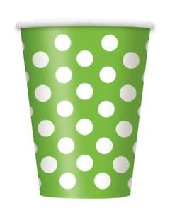 Lime Green Decorative Dots Polka Dots Party Cups x 6