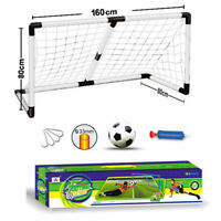 KIDS LARGE FOOTBALL SOCCER PLAY OUTDOOR PREMIER LEAGUE NET GOAL POST BALL PUMP