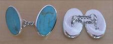 Plata De Ley 925 Azul Piedra Turquesa Clásico Cadena Eslabones Ovalado Shap