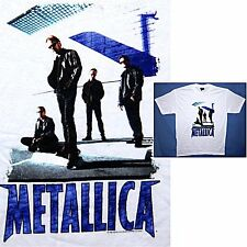 Metallica! Band In Black Picture Image White T-Shirt Xl New