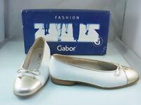 Gabor Fashion Ballerina 6 Damen Leder Schuhe gr. 39 | 61.102.41 Weiß / Gold