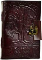 """5"""" x 7"""" Leather Spell book Journal Tree of Life 240pg Celtic Gothic Occult Gift"""