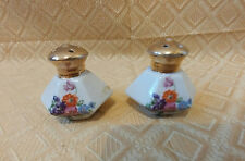 Antique Salt & Pepper Shakers Floral With Cork In Bottom