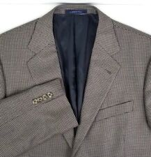 Joseph Abboud Two Button Sport Coat 42R Silk Wool Blend Black & Gold Houndstooth