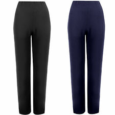 WOMENS STRAIGHT LEG TROUSERS LADIES STRETCH FINELY RIBBED PANTS PULL ON BOTTOMS