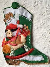 Bucilla Felt Christmas Stocking Finished Cowboy Boot Western Santa Rocking Horse