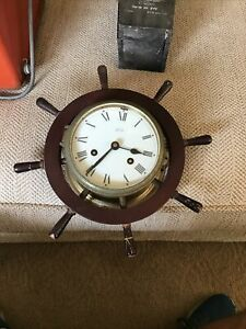 VINTAGE MARINE NAVY GERMANY SCHATZ CAPTAIN WHEEL WIND UP NAUTICAL CLOCK BAR
