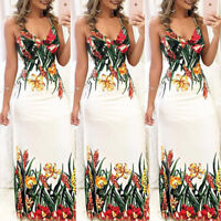 Women Summer Spaghetti Strap V Neck Floral Print Casual Club Boho Long Dress