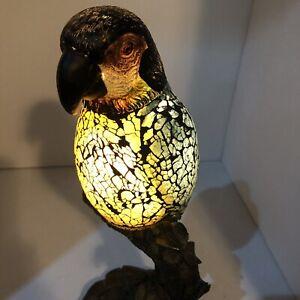 Parrot Light Lamp Crackle Glass Resin Stand Felt Bottom