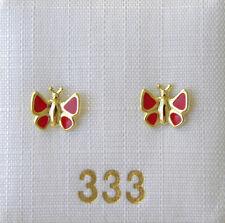 Kinderschmuck Kinderohrringe Ohrstecker Kinder Schmetterling rot 333 Gold NEU
