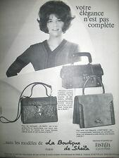 PUBLICITE DE PRESSE LA BOUTIQUE DE SHEILA SAC CARTAGE ET OLYMPE FRENCH AD 1965