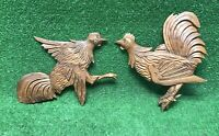 Vintage Farmhouse Hand Carved Solid Wood ROOSTER CHICKEN Wall Hanging