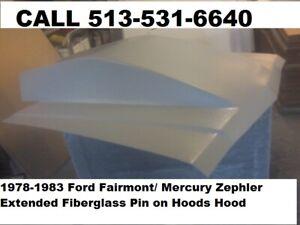1978-1983 Ford Fairmont / Mercury Zephler Extended Fiberglass Pin on Hoods Hood