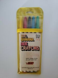 Vintage 1970's PACK OF 5 BIC BANANA INK CRAYONS BIC PEN CORP MILFORD CONNECTICUT