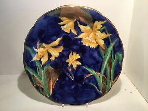 """Rare Art Deco S Hancock & Sons Corona Ware Daffodil 9"""" Plate by FX Abraham c1925"""