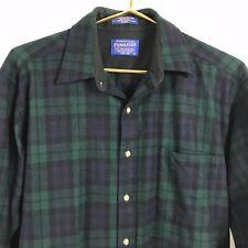 Pendleton Shirt Plaid 100% Wool Flannel Button Mens M Green Blue