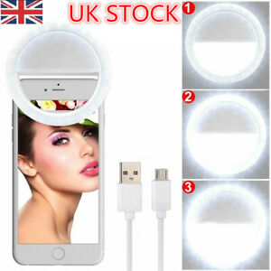 Rechargeable Selfie Ring Light 3-Level Brightness for Any Cell Phone Smartphone