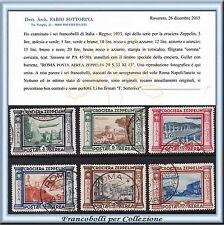 1933 Italia Regno Posta Aerea Crociera Zeppelin n. 45/50 Certificato Usati