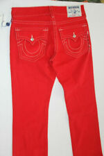 Nwt True Religion Men Denim Red Jeans Ricky  Straight 30 x 34