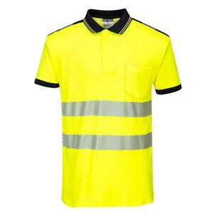 T180 - PW3 Hi-Vis Polo Shirt S/S Yellow/Black Medium