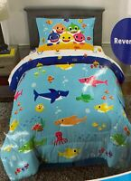 Baby Shark 4 Piece Twin Bed-in-a-Bag with Comforter, Sheet Set & Bonus Bag