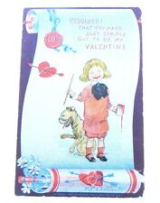 Antique 1904 Raphael Tuck & Sons Valentine's Day Girl Dog Artist Signed Postcard
